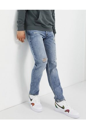 Jack & Jones Intelligence Mike straight jeans with rips in light
