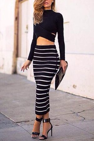 YOINS Sexy Crew Neck Hollow Midriff-baring Stripe Suits & Co-ords