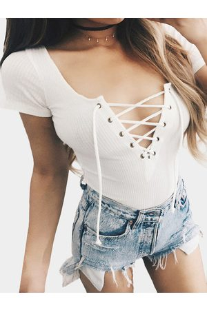YOINS Deep V-neck Lace-up Front Rib Bodysuit in