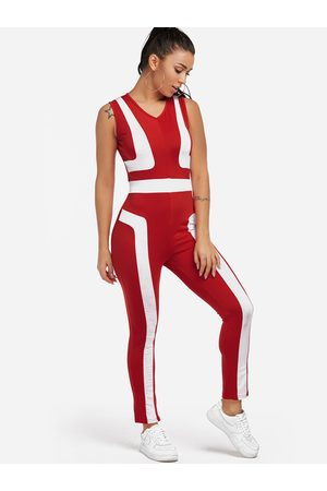 YOINS Women Tracksuits - Zip Back Design Stripe V-neck High-waisted Tracksuit