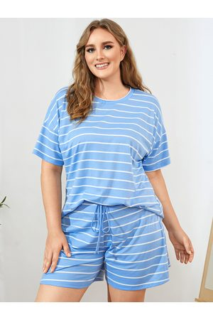 YOINS Plus Size Striped Drawstring Tie-up Design Short Sleeves Two Piece Outfit