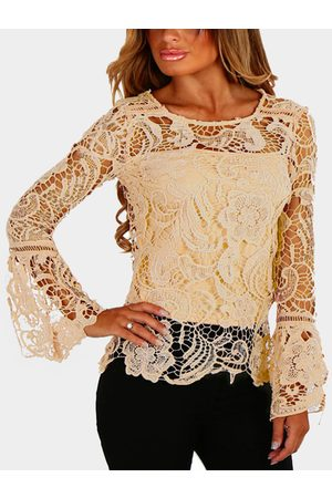 YOINS See-through Lace Round Neck Long Sleeves Sexy Top