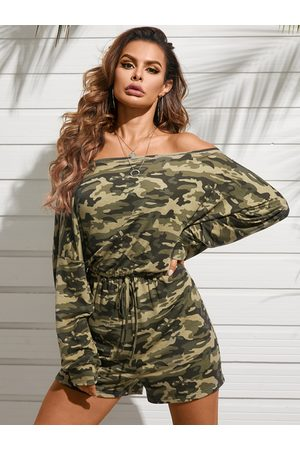 YOINS Casual Camo One Shoulder Drawstring Waist Long Sleeves Playsuit