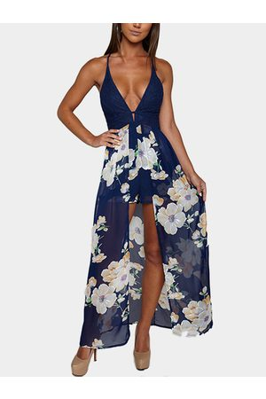 YOINS V Neck Floral Print Maxi Playsuit with Lace Insert