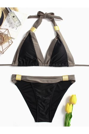 YOINS And Grey Backless Halter-neck Bikini Set with Padded Chest