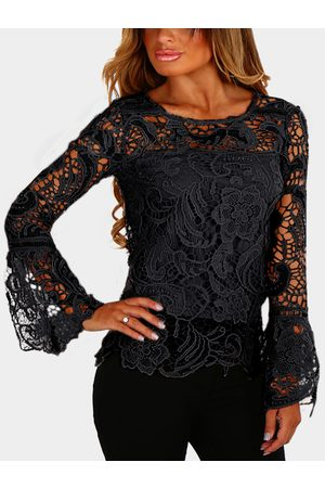 YOINS See-through Lace Details Round Neck Long Sleeves Top
