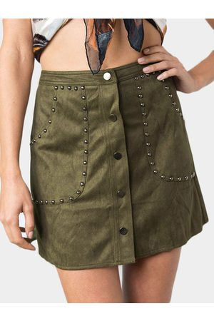 YOINS Army Green Rivet & Button Design Suede A Line Mini Skirt