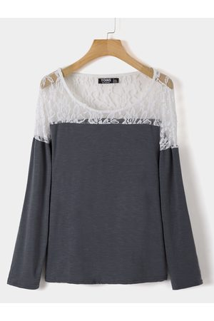 YOINS Lace Patchwork Round Neck Long Sleeves Tee