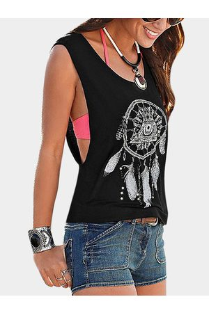 YOINS Women Vests - Cut Out Printed Round Neck Tank Top