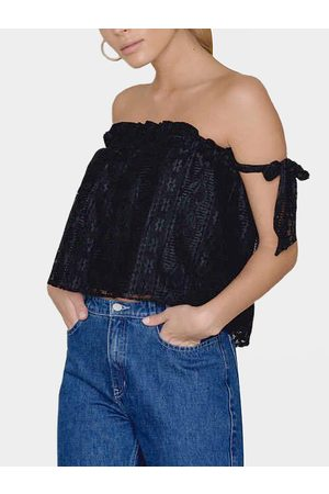 YOINS Strapless Knot at Sleeves Lace Top