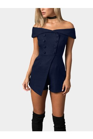 YOINS Women Playsuits - Off Shoulder Playsuit with Button Design