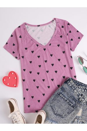 YOINS V-neck Graphic Short Sleeves Tee