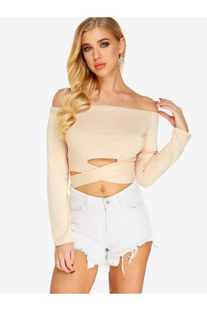 YOINS Bow Tie Design Off The Shoulder Long Sleeves Top