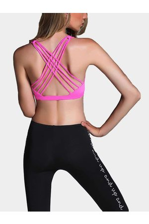 YOINS Magenta Criss-cross Design Sports Bra with Padded chest