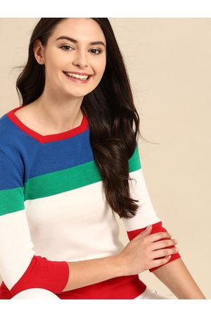 United Colors of Benetton Women White & Blue Pure Cotton Colourblocked Pullover
