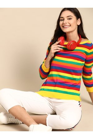 United Colors of Benetton Women Multicoloured Pure Cotton Striped Pullover