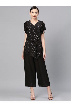 Global Desi Women Black Embellished Basic Jumpsuit