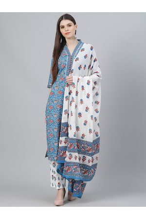 Libas Women Blue Printed Kurta with Salwar & Dupatta
