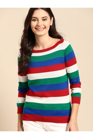 Benetton Women Red & Green Pure Cotton Striped Pullover