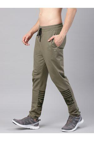 HRX Men Olive Green Camo Athleisure Track Pants