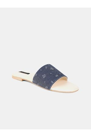 AURELIA Women Blue Textured Fabric Open Toe Flats