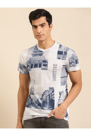 Benetton Men Grey Melange & Navy Blue Printed Pure Cotton T-shirt