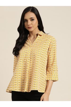 Sangria Women Mustard Yellow & White Pure Cotton Printed A-Line Top