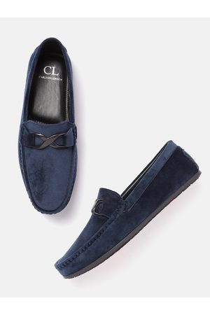 Carlton London Men Navy Blue Solid Suede Finish Horsebit Loafers