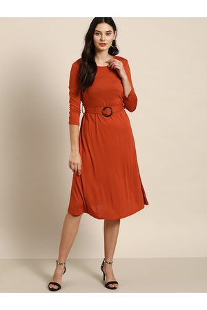 all about you Women Rust Orange Solid A-Line Dress