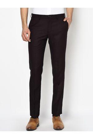 Blackberrys Men Burgundy Slim Fit Checked Formal Trousers