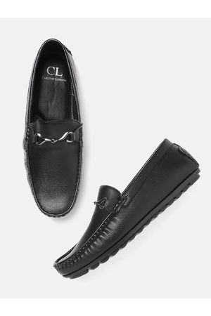 Carlton London Men Black Solid Horsebit Loafers