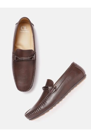 Carlton London Men Coffee Brown Solid Horsebit Loafers