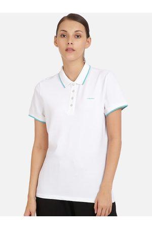 Head Women Short Sleeve - Women White Solid Polo Collar Slim Fit T-shirt