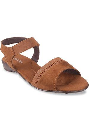 Metro Women Tan Solid Open Toe Flats