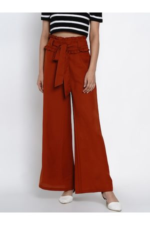 Texco Women Rust Regular Fit Solid Parallel Trousers