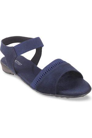 Metro Women Blue Solid Open Toe Flats