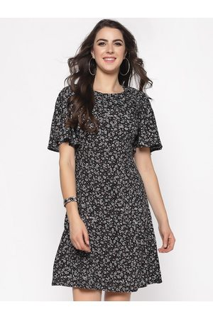 Sera Women Black Printed A-Line Dress