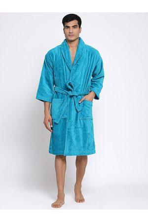 Trident Men Teal Blue Self-Design Bath Robe