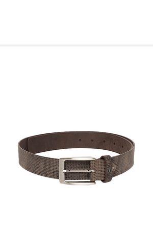Van Heusen Men Brown Textured Leather Belt