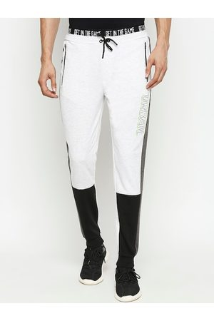 Pantaloons Men Grey Melange & Black Colourblocked Slim-Fit Joggers