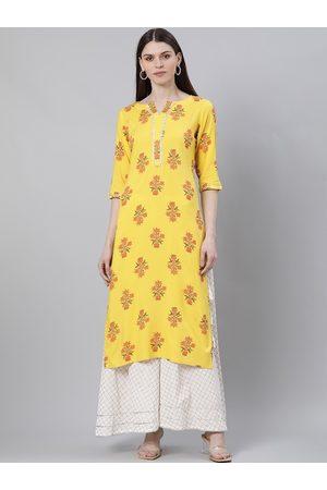 GERUA Women yellow & orange floral printed kurta