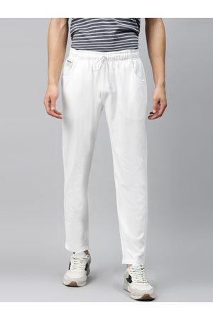 Hubberholme Men White Solid Regular Fit Track Pants
