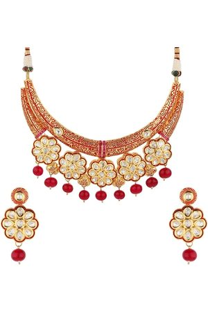 Runjhun Gold-Plated Red & White Kundan-Studded Onyx Beaded Enamelled Handcrafted Jewellery Set