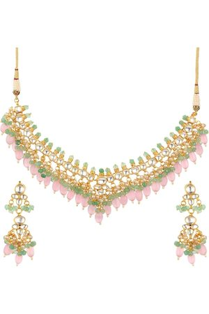 Runjhun Gold-Plated Pink & Green Kundan-Studded Beaded Handcrafted Jewellery Set
