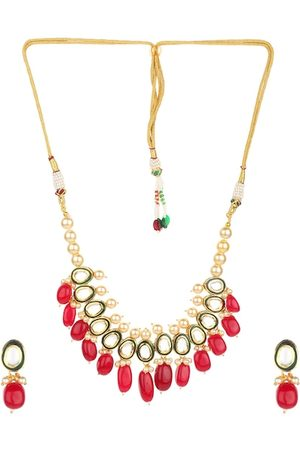 Runjhun Gold-Plated Red & Green Kundan-Studded Onyx Beaded Handcrafted Jewellery Set