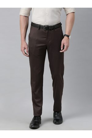 Louis Philippe Men Brown Slim Fit Solid Formal Trousers