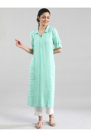 AURELIA Women Green Striped Thread Work Kurta