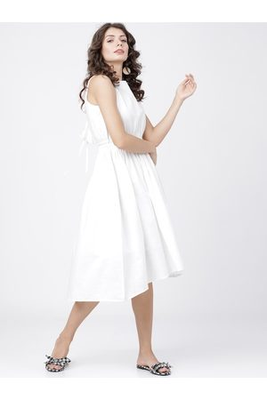 Tokyo Talkies Women Off-White Solid Fit and Flare Dress
