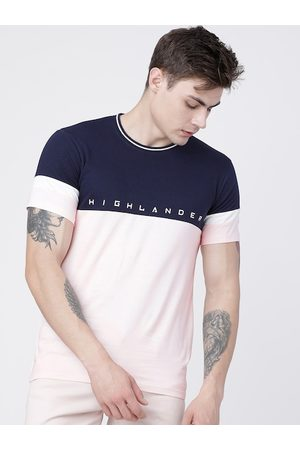 Highlander Men Pink Colourblocked Round Neck T-shirt