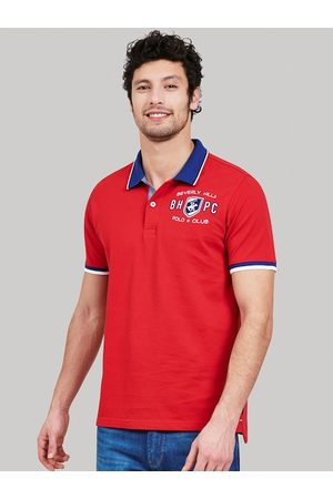 Beverly Hills Polo Club Men Red Solid Polo Collar T-shirt
